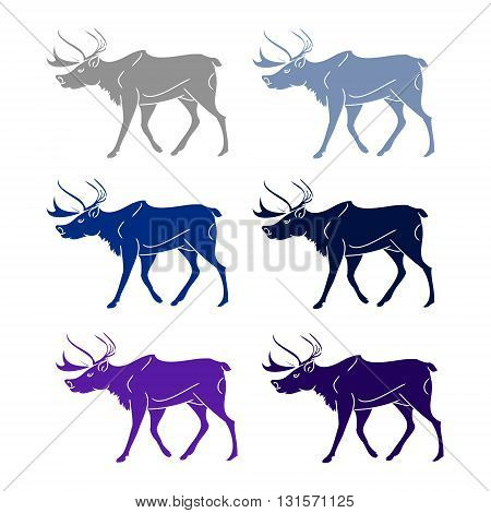 Set of silhouettes of deer. Six colors on a white background. Vector