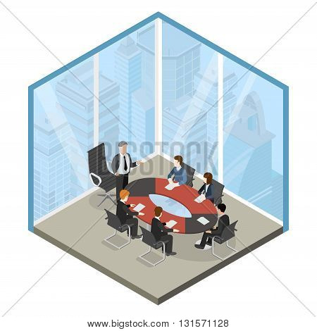 Boss meeting business center flat isometric vector 3d