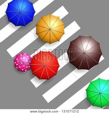Vector colorful umbrellas on crosswalk aerial view