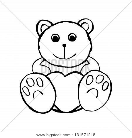 A graphical image of a soft toy. The bear holds in paws heart plush toy. On white background vector