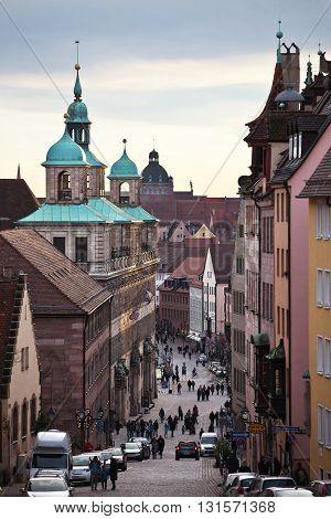 NURENBERG, GERMANY - JANUARY 3, 2012: Walk through the streets of the Nurenberg