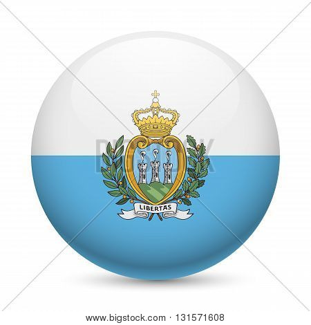 Flag of San Marino as round glossy icon. Button with flag colors