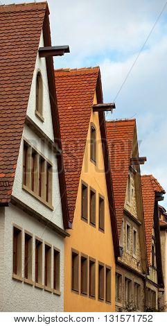 ROTHENBURG OB DER TAUBER, GERMANY - JANUARY 04, 2012: Houses on the Rodergasse street