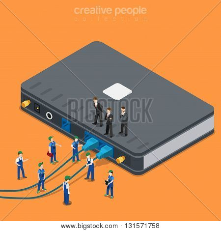 Internet service local network wi-fi router supply flat vector