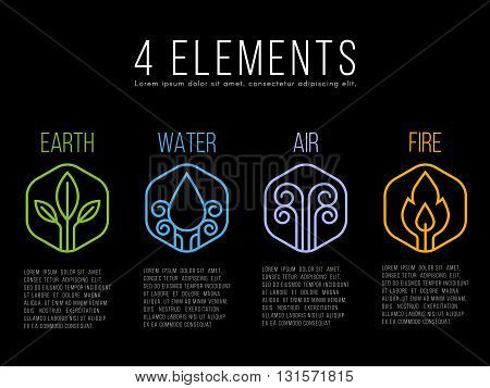 Nature 4 elements circle logo sign. Water Fire Earth Air. on hexagon