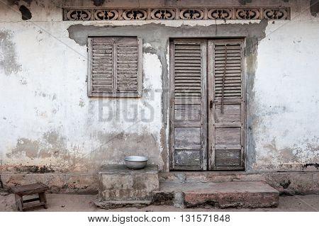 House facade on a village near Grand Popo, Benin, Africa