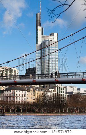 FRANKFURT AM MAIN, GERMANY - JANUARY 06, 2012: View of the city of the Frankfurt on Main. Holbeinsteg - pedestrian bridge
