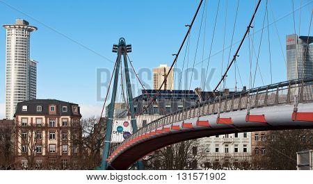 FRANKFURT AM MAIN, GERMANY - JANUARY 06, 2012: Holbeinsteg - pedestrian bridge
