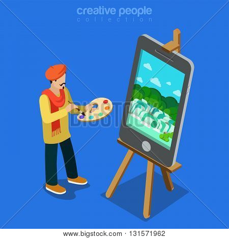 Digital art artist at work technology flat isometric vector 3d