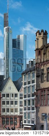 FRANKFURT AM MAIN, GERMANY - JANUARY 06, 2012: The ancient and the modern in architecture of Frankfurt am Main