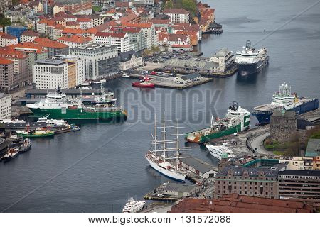 NORWAY, BERGEN - MAY 15, 2012: View of  Vagen bay in the centre of the city of Bergen in Hordaland county, Norway