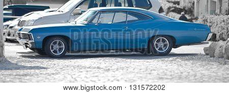 FREDERIKSDORG, DANMARK, MAY 17, 2012: Retro blue american car