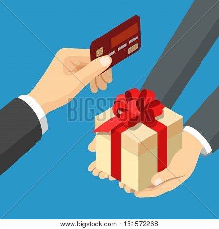 Card payment gift flat 3d isometric vector illustration
