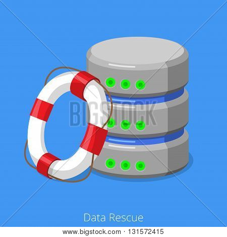 Database SQL storage rescue technology flat isometric vector 3d