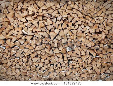 Pile of birch wood for the stove. background or texture