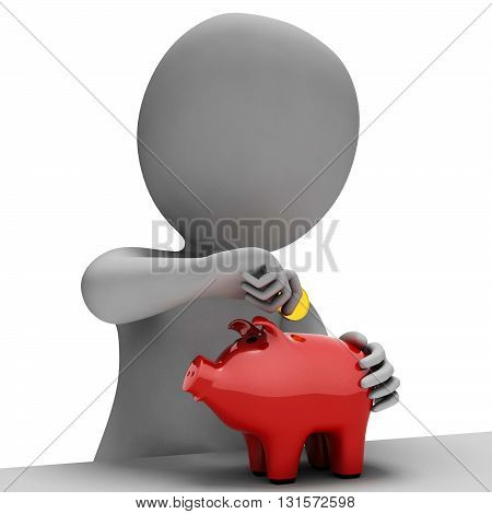 Money Piggybank Indicates Finance Saves And Wealth 3D Rendering