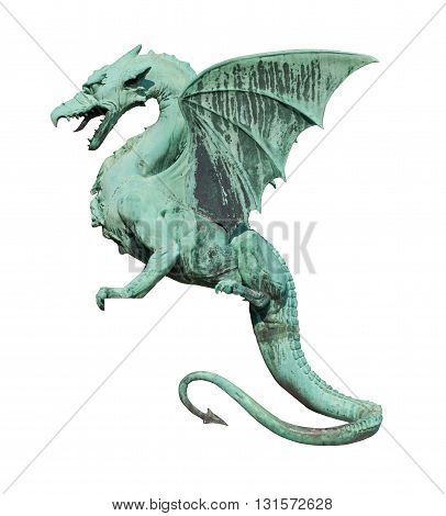 Dragon sculpture side view isolated on white
