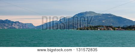 View of Garda lake with mountains in Italy