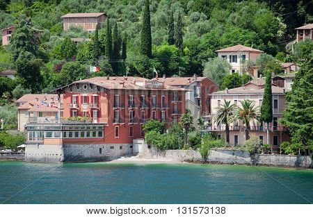 ITALY, GARGNANO - JUNE 26, 2013: Gordenia Al Lago hotel on the coast of Garda lake. Gargnano. Italy