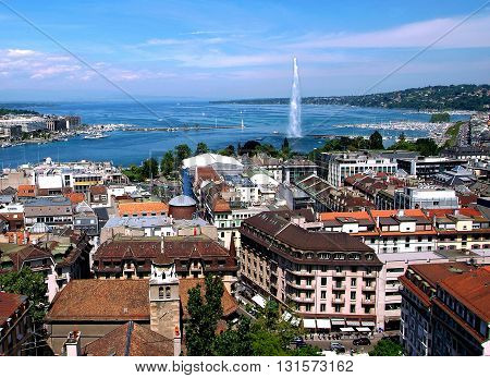 General view of Geneva/The city of Geneva, the Leman Lake and the Water Jet, in Switzerland, Europe, general and aerial view