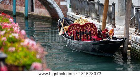 Traditional symbol of Venice - pleasure gondola