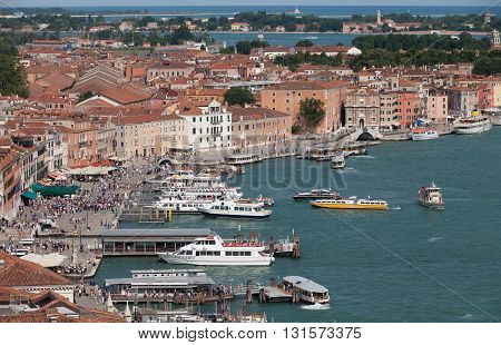 VENICE, ITALY - JUNE 28, 2013: View of Riva degli Schiavoni in Vinice