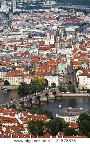 View of the Charles bridge and the historic centre of Prague from Petrjinska tower