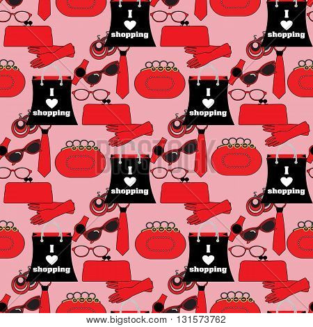 Seamless pattern. Women's stylish fashion and accesories . Red and black accessories are on the pink background.(Can be repeated and scaled in any size.)