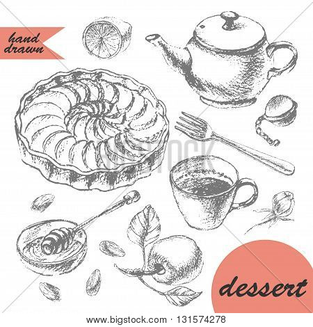 Hand drawn pencil sketch of tea and dessert. Teapot apple tart tea cup lemon honey and apple.