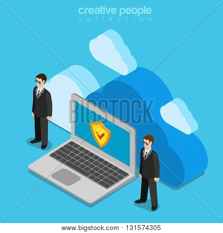 Cloud data storage security safety service flat isometric vector