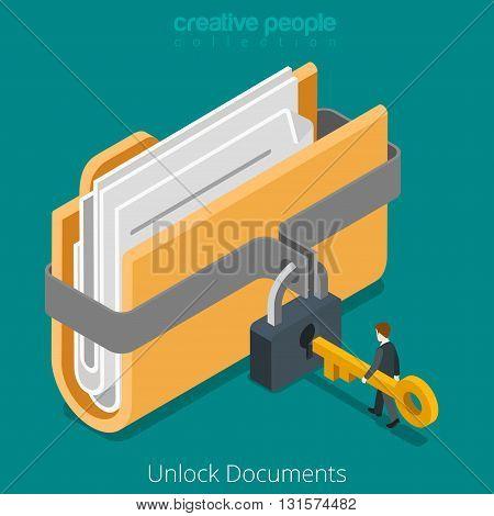 Unlock folder secure data file document lock key flat vector 3d