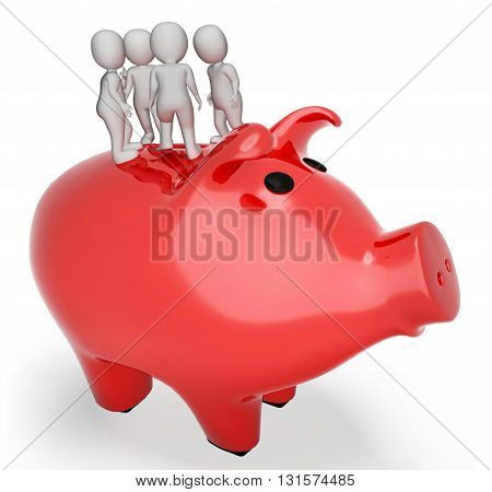 Piggybank Save Represents Render Saved And Currency 3D Rendering