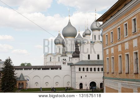 ROSTOV RUSSIA MAY 07. 2016: - Rostov the Great in spring view to the kremlin from the Water tower The Church Of the Resurrection and the Cathedral of the Assumption. The Golden Ring of Russia