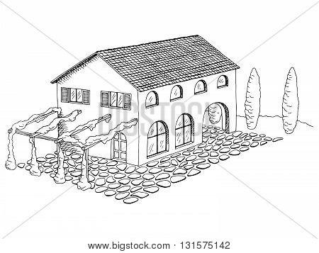Village villa house graphic art black white landscape illustration vector