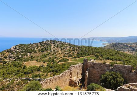 Medieval fortress in Greece on the island of Rhodes on the coast of the Mediterranean Sea.
