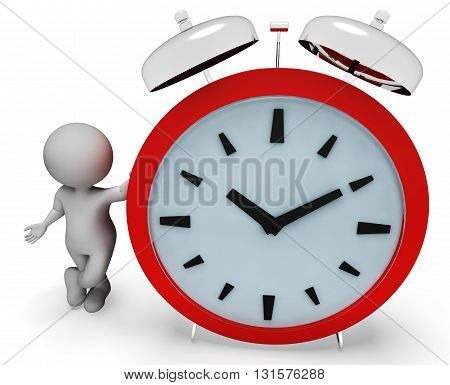 Alarm Character Indicates Alert Illustration And Time 3D Rendering