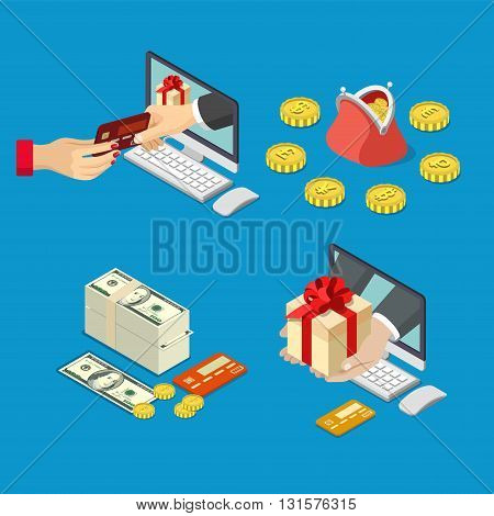 Online sale payment method delivery e-commerce concept. Flat 3d isometric isometry web vector illustration. Hand from computer monitor take pay bank credit card give box money coin currency purse.