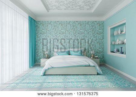 3D rendering of modern bedroom in blue.