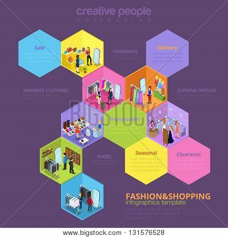 Fashion shopping sale seasonal vector isometric infographics