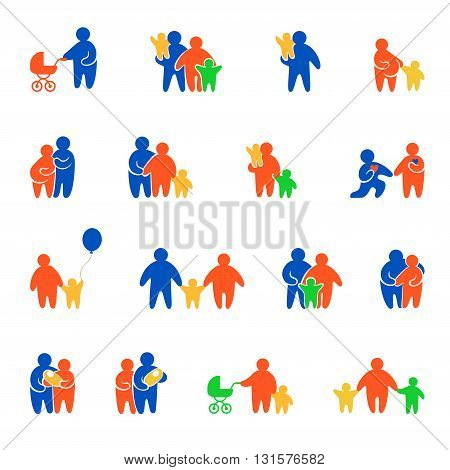 Family values simple minimal people silhouette concept web site mobile app vector icon set. Father mother dad mom boy girl son daughter newborn pregnant pregnancy prenatal couple loving lover date.