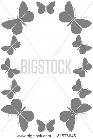 Gray frame with butterflies  - vector illustration.