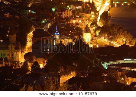 Night panoramic view of Tbilisi