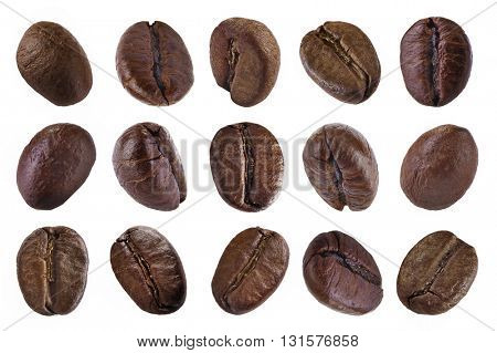 Set coffee beans isolated on white