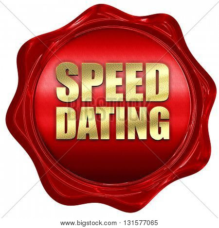 speed dating, 3D rendering, a red wax seal