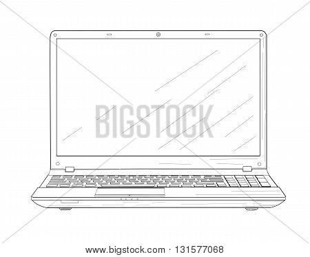 Opening laptop, drawing design - vector illustration.