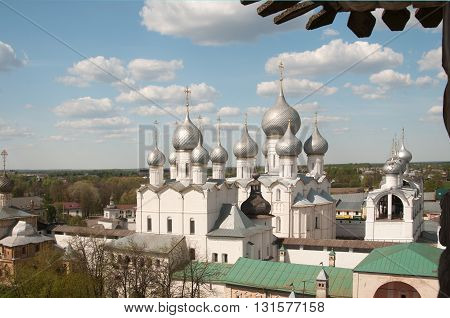 ROSTOV RUSSIA MAY 08. 2016: - Rostov the Great in spring view to the kremlin from the Water tower The Church Of the Resurrection and the Cathedral of the Assumption. The Golden Ring of Russia