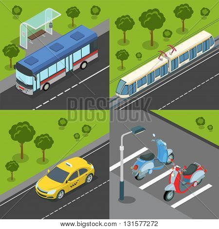 Municipal city suburb road tram rail transport. Bus train tram tramway taxi bike parking. Flat 3d isometry isometric style web site app icon set concept vector illustration.