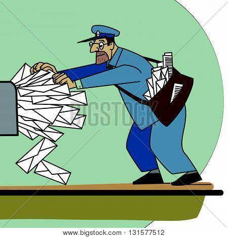 The postman a lot of paper mail and Inbox line art. Spam and mailing list. The profession of postman. A lot of envelopes with letters