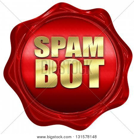 spam bot, 3D rendering, a red wax seal