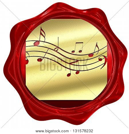 Music note background, 3D rendering, a red wax seal